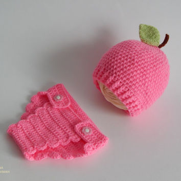 Adorable crochet panties and hat.Pink hat and panties.Newborn Crochet Set. Photo Prop - Infant Crochet Sets. Made to order