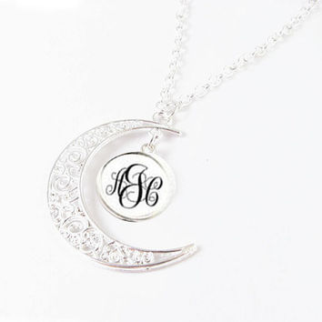 Silver Filigree Crescent Moon Monogram Personalized Necklace