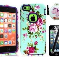 XYUN TM 3in1 Hybrid High Impact Hard Vintage Sea Green Floral Pattern + Purple Silicone Case Cover for Apple iPhone 5C (not fit iPhone 5 5S) Include a XYUN Mobile Phone Cleaner Dust Plug Gift , Screen Protector and Long stylus - Green / Purple Flower