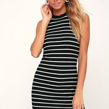 Syndicate Black Striped Ribbed Bodycon Midi Dress