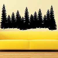 Pine Trees Wall Decal Forest Landscape Nature Vinyl Sticker Decals Home Decor Bedroom Art Design Interior C551