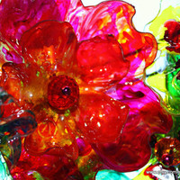 Recycled Plastic Bottle Wreath inspired by Chihuly Bellagio Ceiling, rainbow, home decor, art glass