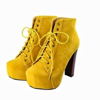 Women Autumn Thick Block High Heel Shoes Ankle Boots Bootie Lace Up Platform 1nZ