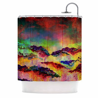 "Ebi Emporium ""It's A Rose Colored Life 4"" Yellow Red Shower Curtain"