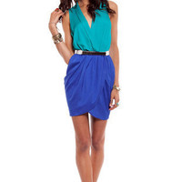 Like Color Blocked Dress in Blue and Aqua :: tobi