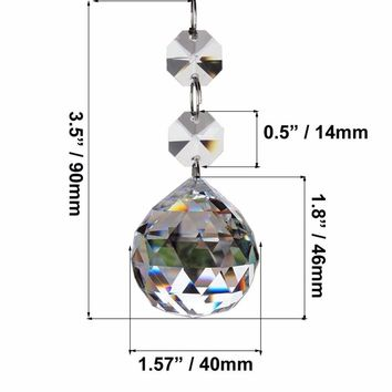 Clear 40mm Faceted Glass Crystal Ball Prism Chandelier Crystal Parts Hanging Pendant Lighting Ball Suncatcher Wedding Home Decor