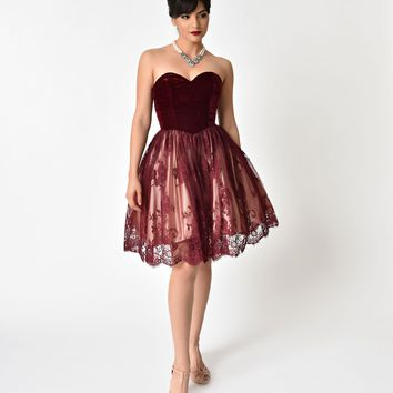 Burgundy & Ivory Velvet Sweetheart Neckline Sleeveless Lace Dress