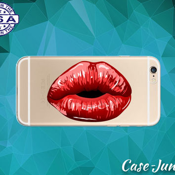 Red Lipstick Lips Make Up Cute Tumblr Clear Transparent Rubber Case For iPhone 5, iPhone 5C, iPhone 6, iPhone 6+, iPhone 6s Plus, iPhone 6s+