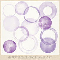 Watercolor clipart circles and frames (48 pc) purple violet lavender. handpainted round clip art for blogs digital scrapbooking cards etc