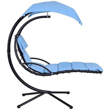 COSTWAY Arc Stand Swing Canopy Hanging Chaise Hammock - Blue + FREE E-Book