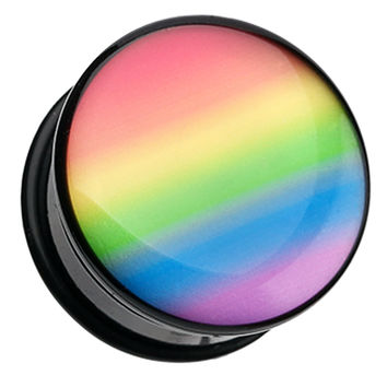 Pastel Rainbow Gradient Single Flared Ear Gauge Plug