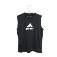 80s Adidas tank top tshirt Weight Training vintage 90s black tee basic sports tee shirt. muscle tank. large