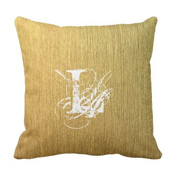 Golden Texture typography Monogram Letter Throw Pillow