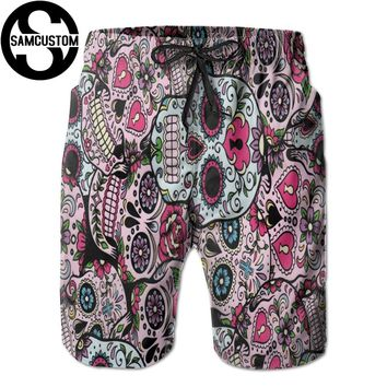 Quick dry ultra light breathable Beach shorts sugar skull 3D