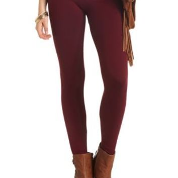Burgundy High Rise Faux Fur-Lined Leggings by Charlotte Russe