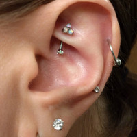 Rook piercing barbell 16g vertical labret eyebrow piercings rings curved bar white opal cluster titanium prong set gems daith earring stud 1
