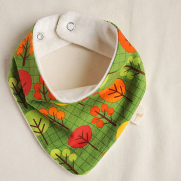 Bandana bib. Organic bamboo velour. Scarf bib for little dribblers.  Baby and toddler. Trees over green.