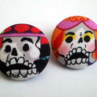 Bride and groom skeletons day of the dead dia de los muertos large button earrings