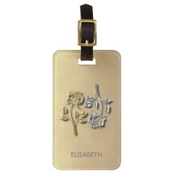Two Golden And Silver Roses With Shadows Luggage Tag