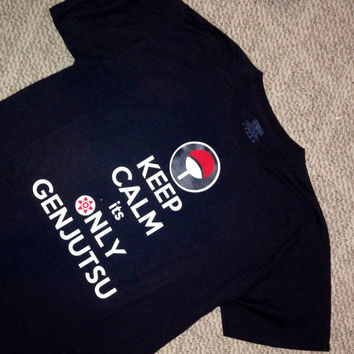 "Naruto Shippuden Inspired  ... "" Keep Calm it's only GENJUTSU ""  ... Uchiha Clan - Sasuke T Shirt / Fitted / Children's"