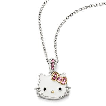 Sterling Silver Enameled Gold Plated Sparkle Hello Kitty Necklace