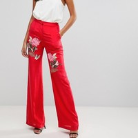 Millie Mackintosh Rose Embroidery Wide Leg Trousers at asos.com
