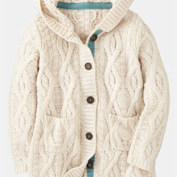 Mini Boden Chunky Cable Knit Cardigan (Little Girls & Big Girls) | Nordstrom