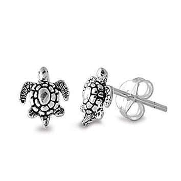 Sterling Silver Sea Turtle Stud Earrings