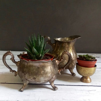Leonard Silverplate Sugar Pot and Creamer/ Succulent Containers/ Vintage Containers/ Sugar and Cream/ Antique Tea Service/ Rustic