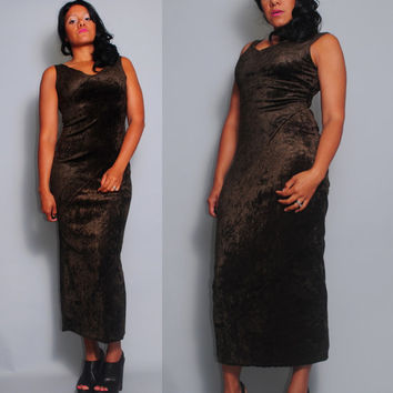 Vintage 1990s Brown cryshed velvet grunge goth Maxi Sleeveless Dress Party Dress  S