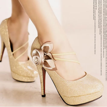 Trendy Gold Platform High Heels Bridal Wedding Evening Prom Shoes SKU-1090173