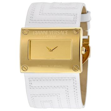 Versace V-Couture Gold-Tone Steel and White Leather Ladies Watch 71Q70D999-S001