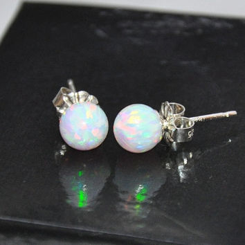Ball Stud Post earrings, 6mm stone, Opal Earrings, Sterling Silver Earrings, Australian Opal, 925 Sterling Silver