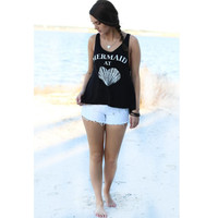 2016 New Arrival Summer Style Women's MERMAID Printed Black Letters Loose Sleeveless Vest Casual T Shirts Tops Women Vests QA928