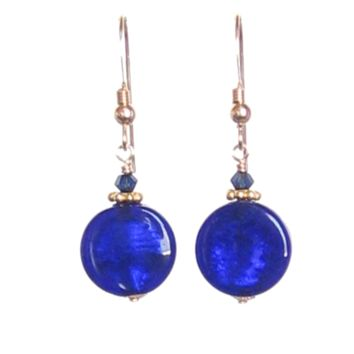 Murano Glass Cobalt Blue Small Coin Dangle Gold Earrings, Gold Filled Leverbacks