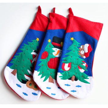 Christmas Fabric Stocking Embroidery Sock Gifts Bags Tree Decoration Deer,Santa,Snowman Pattern Christmas (Size: 48CM) [9431835524]