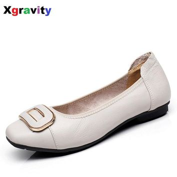 Hot Sales Autumn Soft Woman's Flat Shoes Square Toe Fashion Woman Flats Elegant Comfortable Women's Genuine Leather Flats C017