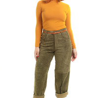 Vintage 90's Army Green Suede Pants - M