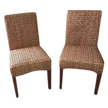 Pre-owned Pottery Barn Seagrass Chairs - A Pair