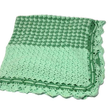 Crochet Afghan Blanket Mint and Sage Caron Simply Soft Yarn