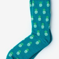 Turquoise Carded Cotton Pineapples Sock | Ties.com