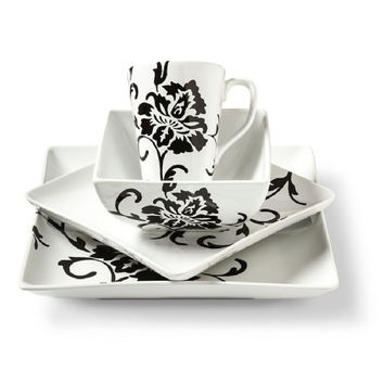 Coventry Floral Scroll Dinnerware Set black/White