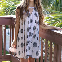 Clare Island Mauve Medallion Print Swing Dress
