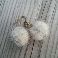 Wool Ball Dangle Earrings, Unique Earrings, Grey Dangling Earrings, Fluffy Cute Earrings