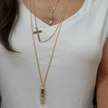 Triple Layer Long 14k Gold Wing, Cross & Thick Bar Pendant Necklace - 3 Charm Pendant Necklace, Gold Layering Necklace
