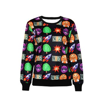 Fashion Emoji Print Black Women Sweatshirt