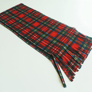 Red Plaid Fleece Scarf Red Tartan Unisex Extra Long Extra Wide Scarf