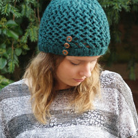 Knitted Beanie Hat Womens Lacey Pattern