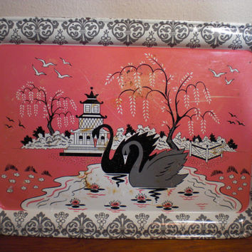 Vintage Metal Serving Tray Pink Pagoda Swans decorated Eastern design