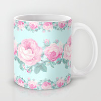 Cottage chic Roses floral pattern Mug by Mercedes